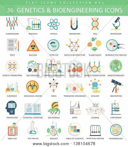 Vector Genetics and bioengineering flat icon set. Elegant style design