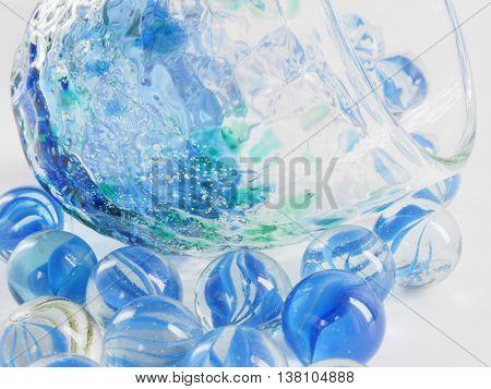 Sake cup, beautiful Ryukyu(Okinawa) glass on white background