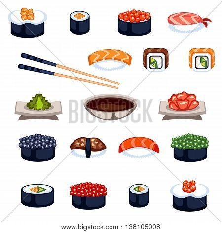 Sushi and rolls flat food and japanese seafood sushi rolls. Sushi rolls traditional seaweed fresh raw food. Asia cuisine restaurant delicious. Sushi roll with fish fast food