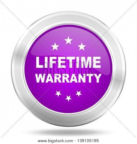 lifetime warranty round glossy pink silver metallic icon, modern design web element