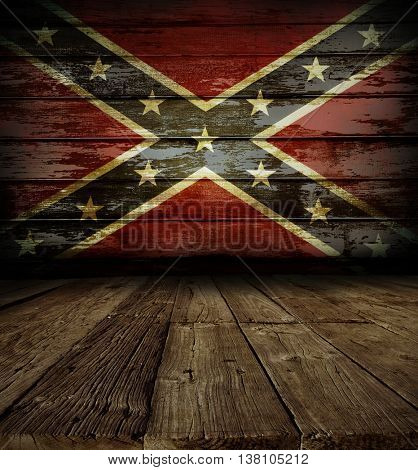 Wooden floor and Confederate flag on wall