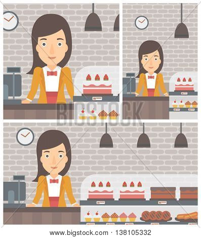 A female bakery worker offering different pastry. A bakery worker standing behind the counter with cakes at the bakery. Vector flat design illustration. Square, horizontal, vertical layouts.