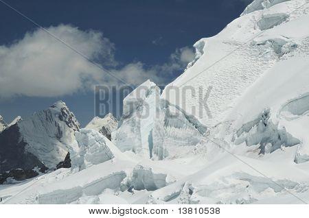 Snow glacier in the high Cordilleras