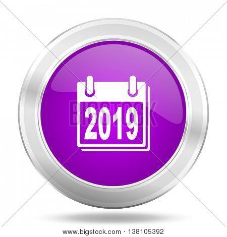 new year 2019 round glossy pink silver metallic icon, modern design web element