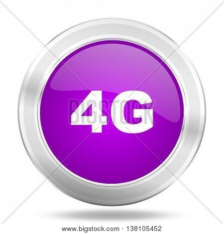 4g round glossy pink silver metallic icon, modern design web element