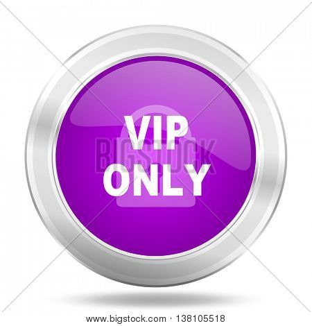 vip only round glossy pink silver metallic icon, modern design web element