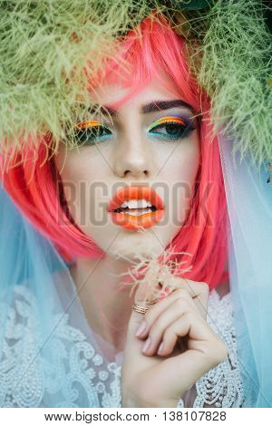 Bride With Orange Hair In Fur Tree