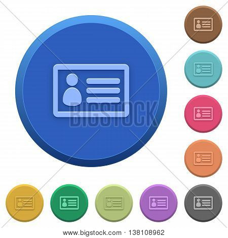 Set of round color embossed ID card buttons