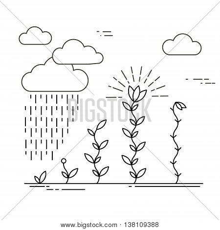 Vector nature and ecology illustration in linear style. Growing plants. Abstract landscape.