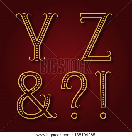 Y Z golden letters ampersand exclamation and question marks with shadow. Font of dots and lines with flourishes. Type in art deco style.