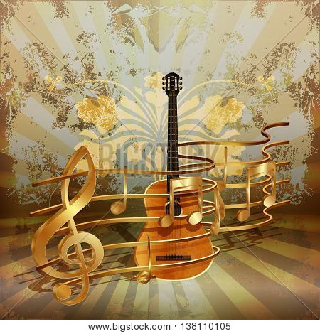 Vector illustration of music background realistic acoustic guitar woven by golden musical notes.