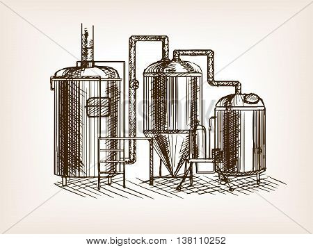 Beer brewing sketch style vector illustration. Old hand drawn engraving imitation.