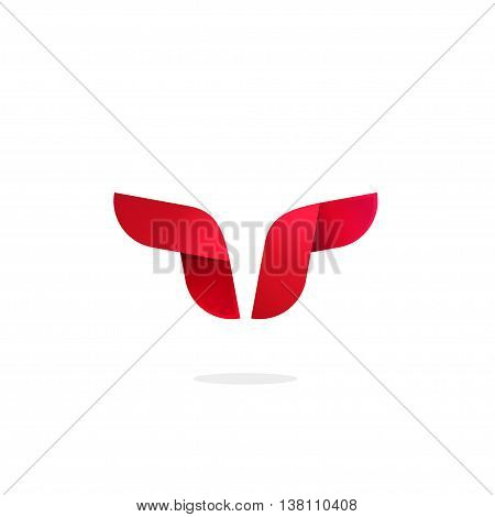 Bull logo template vector, buffalo horns abstract symbol isolated on white background, ox head horn logotype illustration sign, silhouette, icon concept, strong cattle geometric