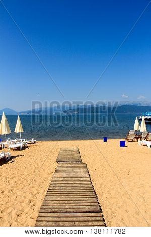 picture of a Beach on a Lake Prespa Macedonia