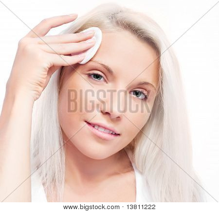 Woman With Cotton Pads