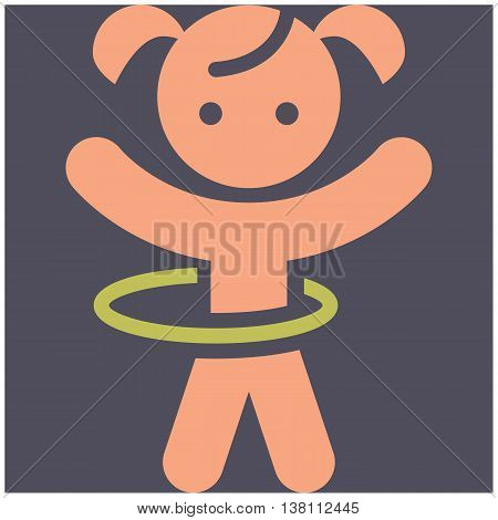 The Kids activities - color vector icon illustration