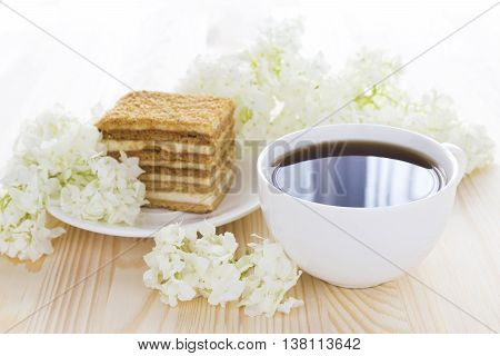 Napoleon Cake, Cup Of Coffee