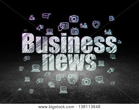 News concept: Glowing text Business News,  Hand Drawn News Icons in grunge dark room with Dirty Floor, black background