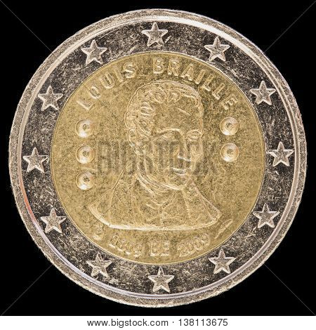 Commemorative Two Euro Coin Issued By Belgium In 2009 To Celebrate The Birthday Of Louis Braille's