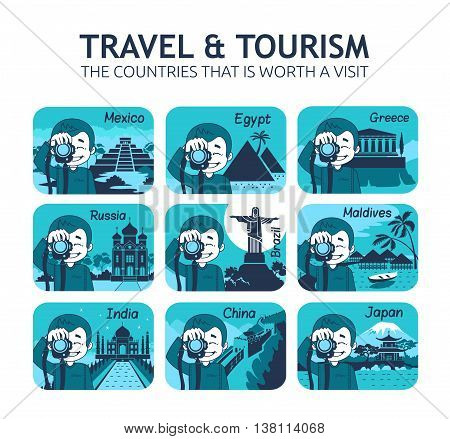 Set of flat travel icons with different countries of the world. Travel and tourism