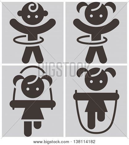 Kids activities icons set - set of playing chid icons