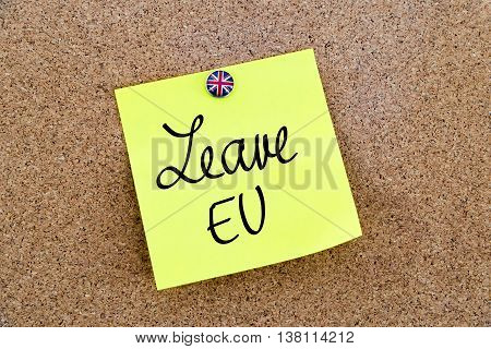 Yellow Paper Note Pinned With Great Britain Flag Thumbtack And Text Leave Eu