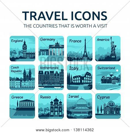 Set of travel icons with different countries of the world. Travel and tourism
