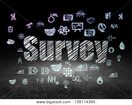 Science concept: Glowing text Survey,  Hand Drawn Science Icons in grunge dark room with Dirty Floor, black background
