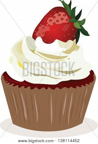 Cupcake with strawberry whipped cream. Vector illustration