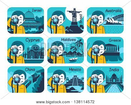 Set of flat travel icons with different countries of the world. Travel and turism