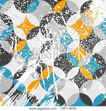 Abstract geometric pattern with white paint strokes and drips. Vector Illustration. Retro colored circle elements.