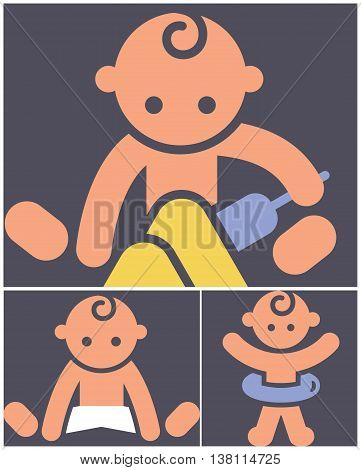 The Kids activities color icons - set of playing child icons