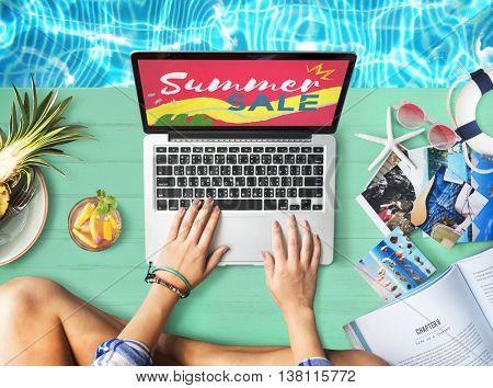 Beach Laptop Shopping Summer Concept
