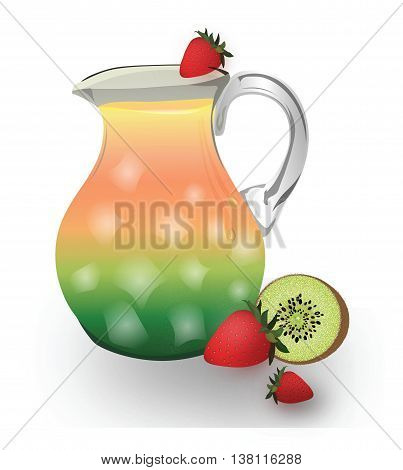 Fresh Juice or Punch in a pitcher with ice. Vector