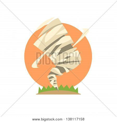 Tornado Natural Force Sticker Flat Vector Simplified Style Graphic Design Icon Isolated On White Background