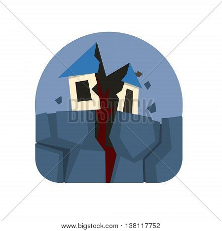 Earthquake Crack Destroying A House Natural Force Flat Vector Simplified Style Graphic Design Icon Isolated On White Background