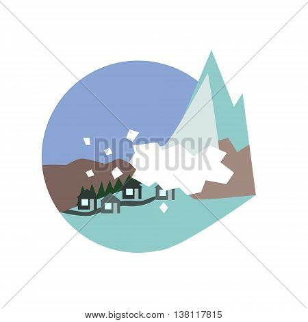 Avalanche Destroying The Village Natural Force Flat Vector Simplified Style Graphic Design Icon Isolated On White Background