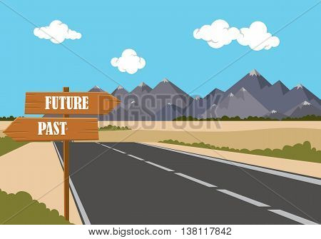 future past option on the sign road with highway and mountain as background vector graphic illustration