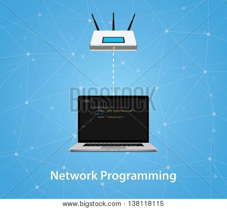 network programming concept with laptop and router with program code vector graphic illustration
