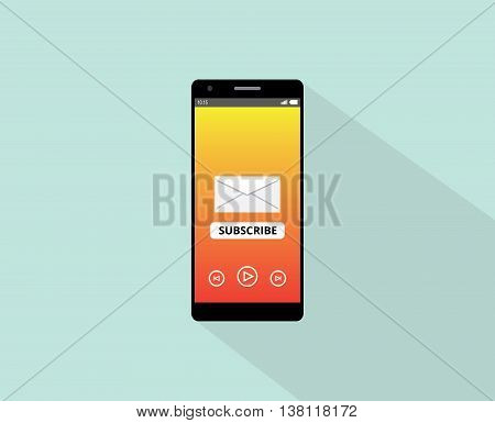 subscribe newsletter or application on the smartphone with envelope and phone device vector graphic illustration