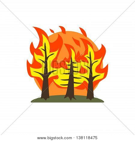 Forest Fire Natural Force Flat Vector Simplified Style Graphic Design Icon Isolated On White Background