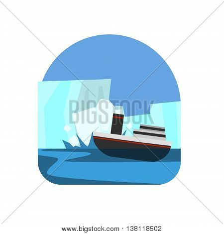 Ship Hitting The Iceberg Natural Force Flat Vector Simplified Style Graphic Design Icon Isolated On White Background
