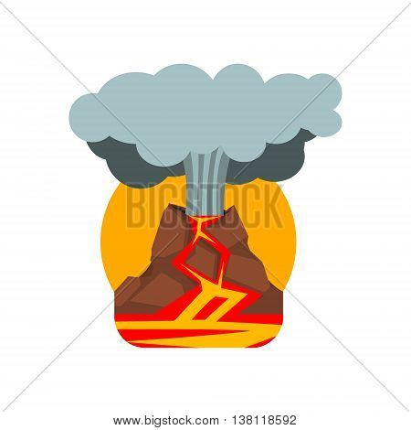 Volcano Eruption Natural Force Flat Vector Simplified Style Graphic Design Icon Isolated On White Background