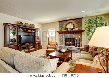 Spacious Living Room With Fireplace, Carpet Floor And Rug