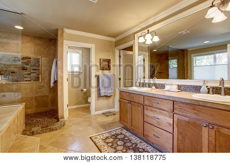 Classic American Bathroom With Wooden Cabinets, Two White Sinks