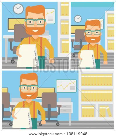 Young hipster businessman giving a resume in office. Man giving to the employer his curriculum vitae. Job interview concept. Vector flat design illustration. Square, horizontal, vertical layouts.