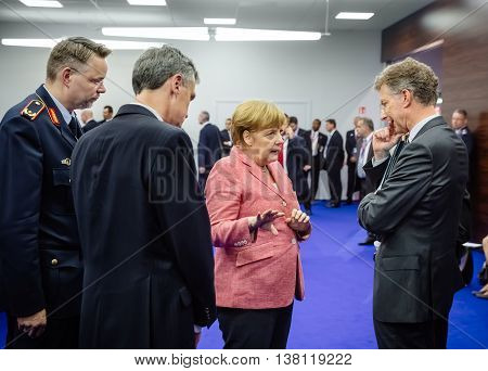 German Chancellor Angela Merkel At Nato Summit In Poland