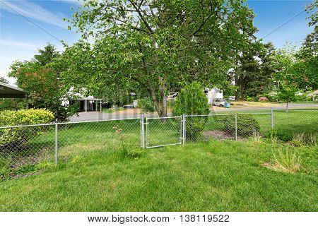 View Of Fenced Backyard With Lots Of Grass.