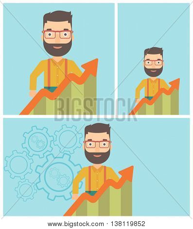 A hipster businessman with the beard standing behind growing chart. Successful business concept. Vector flat design illustration. Square, horizontal, vertical layouts.
