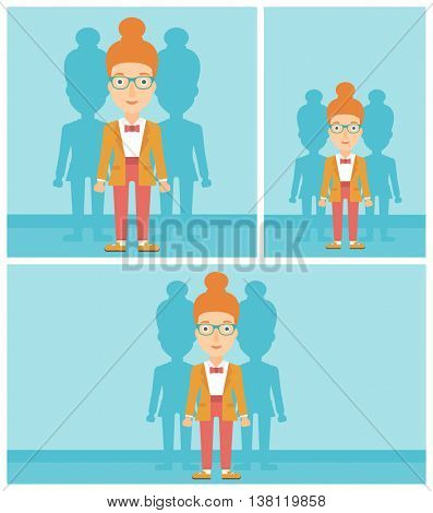 Young woman standing with some shadows behind her. Candidat for a position stand out from crowd. Concept of staff recruitment. Vector flat design illustration. Square, horizontal, vertical layouts.